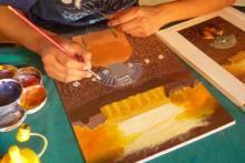 Taller de pintura con acrílico sobre mazonite.