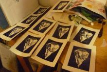 Impresión de grabado sobre linóleo