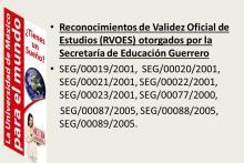 Reconocimientos de Validez Oficial de Estudios (RVOE) de la Secretaría de Educación Guerrero